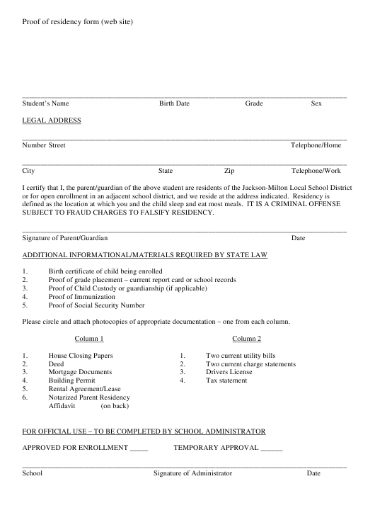 """Proof of Residency Form (Web Site) - Jackson-Milton Local School District"" - Jackson County, Missouri Download Pdf"