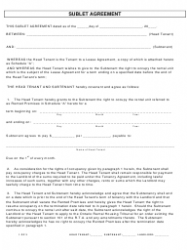 Sublet Agreement Form - Ontario
