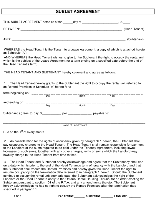 """""""Sublet Agreement Form"""" - Ontario, Canada Download Pdf"""