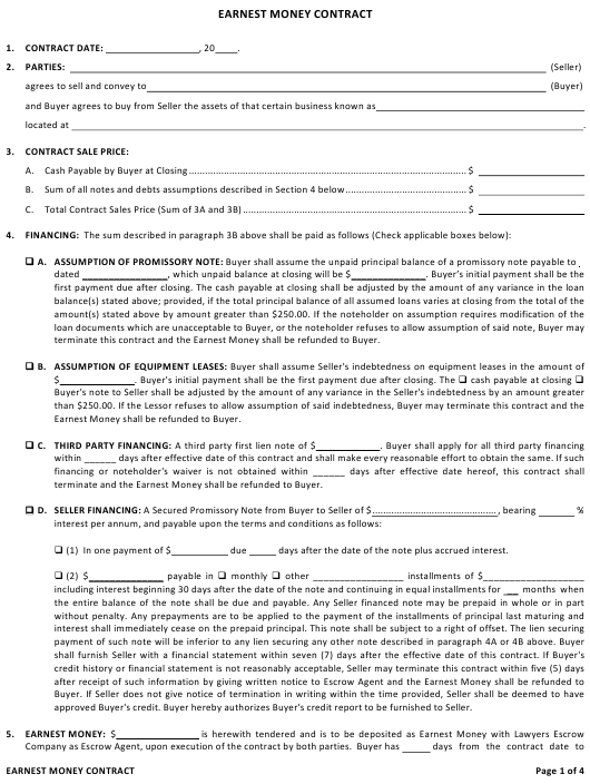 """Earnest Money Contract Template"" Download Pdf"