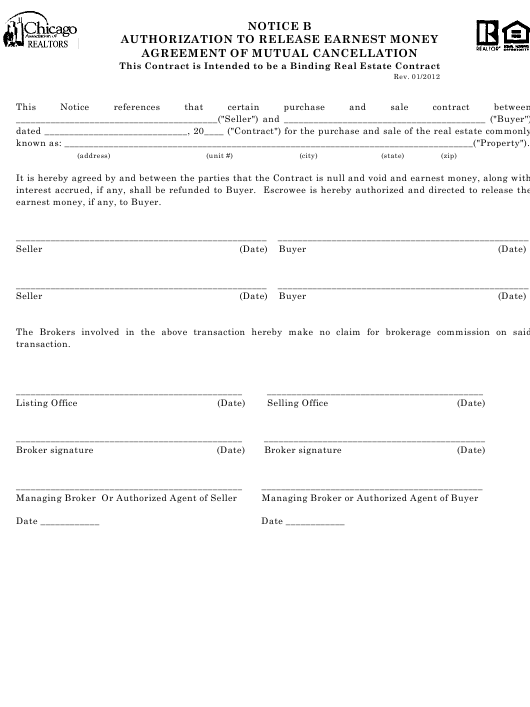 """Authorization to Release Earnest Money Agreement of Mutual Cancellation Form - Chicago Association of Realtors"" - Illinois Download Pdf"