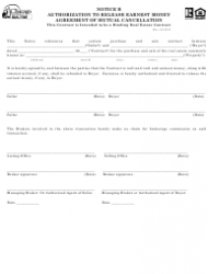 Authorization to Release Earnest Money Agreement of Mutual Cancellation Form - Chicago Association of Realtors - Illinois