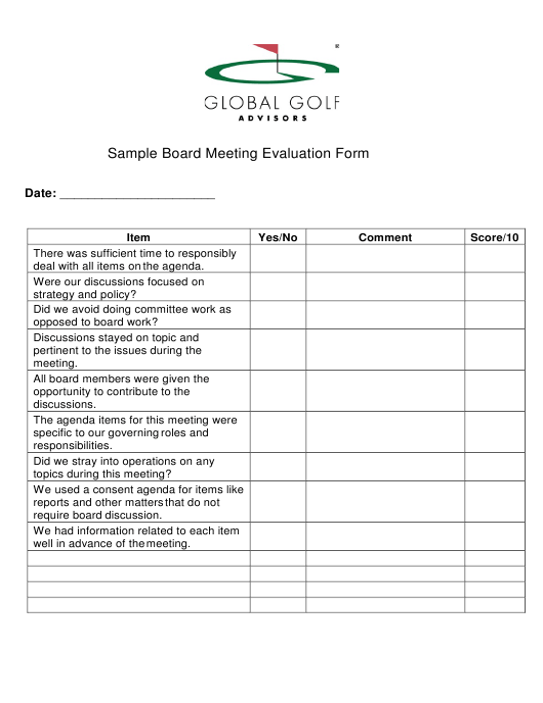 """Sample Board Meeting Evaluation Form - Global Golf Advisors"" Download Pdf"