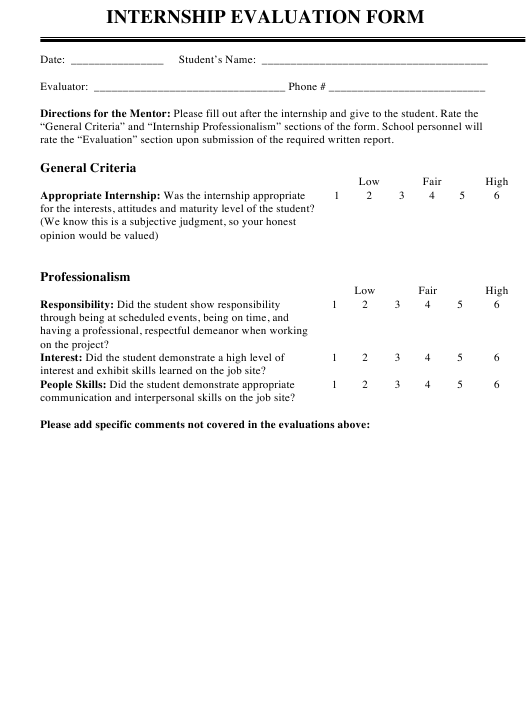 """Internship Evaluation Form"" Download Pdf"