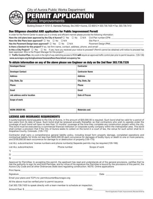"""""""Permit Application Form"""" - City of Aurora, Colorado Download Pdf"""