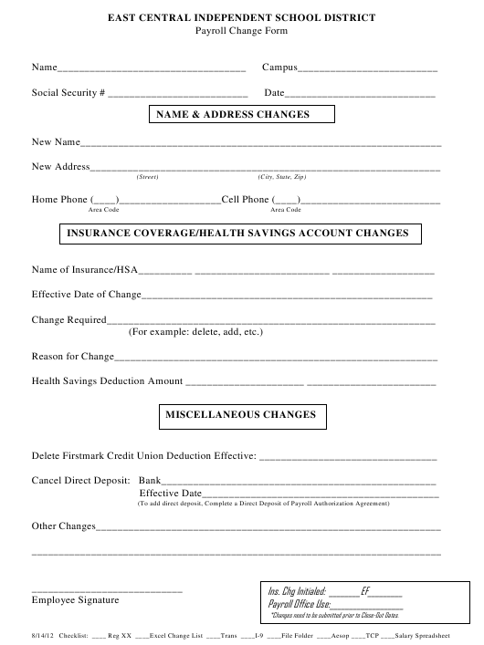 """""""Payroll Change Form - East Central Independent School District"""" - Texas Download Pdf"""