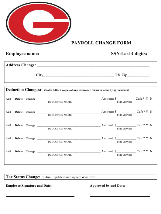 """Payroll Change Form"" - Texas Download Pdf"