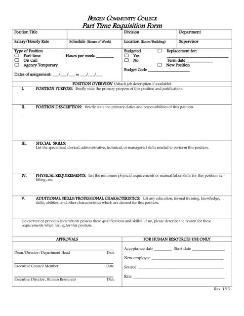 """""""Part Time Requisition Form - Bergen Community College"""" Download Pdf"""