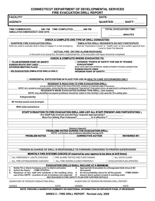 """Fire Evacuation Drill Report"" - Connecticut Download Pdf"