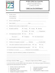 """""""Child Care Fire Drill Report Template - Scdss Child Care Licensing"""""""