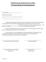 Form DOL-L2 Prevailing Wage Acknowledgement Form - Suffolk County, New York