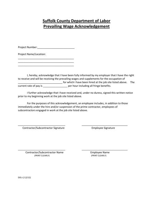 Form DOL-L2  Printable Pdf