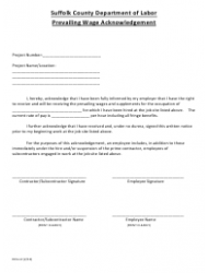 """Form DOL-L2 """"Prevailing Wage Acknowledgement Form"""" - Suffolk County, New York"""
