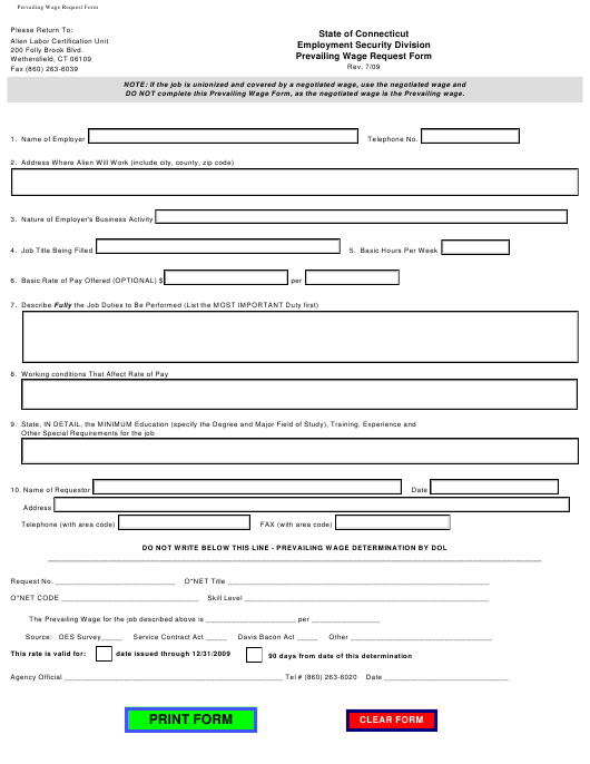 """Prevailing Wage Request Form"" - Connecticut Download Pdf"