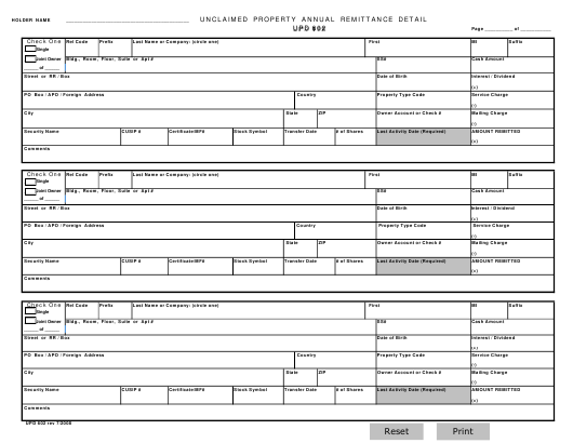 Form UPD602  Printable Pdf