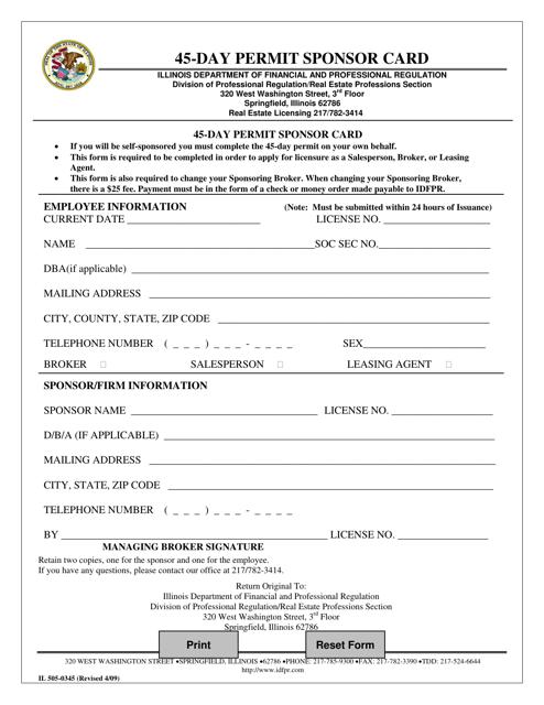 Form IL505-0345 Printable Pdf