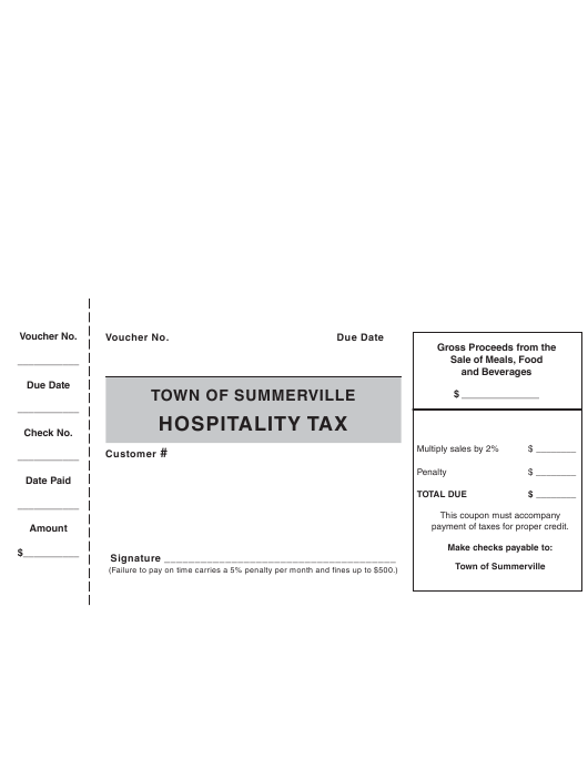 """Hospitality Tax Voucher Form"" - Town of Summerville, South Carolina Download Pdf"