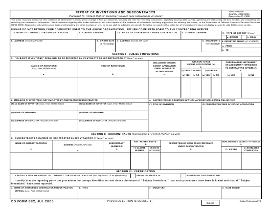 DD Form 882 Fillable Pdf