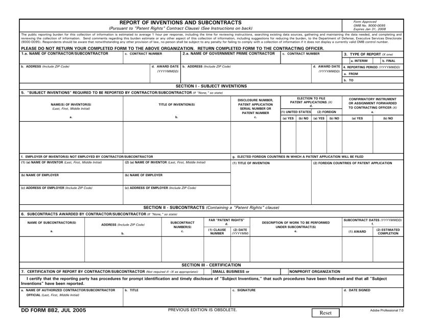 DD Form 882  Printable Pdf