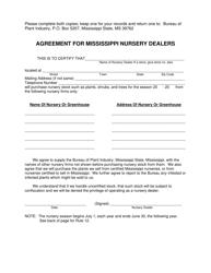 """Agreement for Mississippi Nursery Dealers"" - Mississippi"