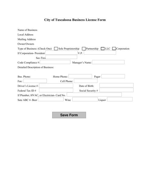 """Business License Form"" - City of Tuscaloosa, Alabama Download Pdf"