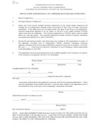 Form S.A.2 Application for Renewal of a Broker-Dealer's Registration - Virginia
