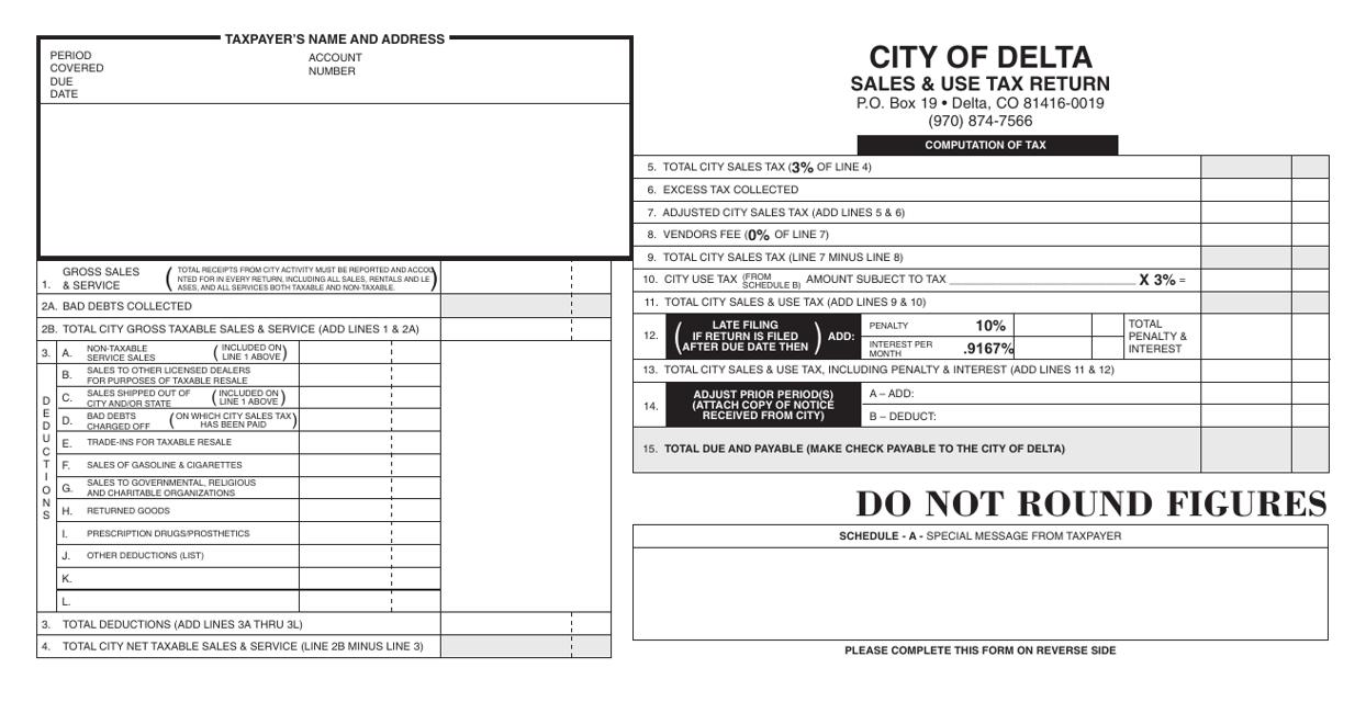 """""""Sales & Use Tax Return Form"""" - City of Delta, Colorado Download Pdf"""