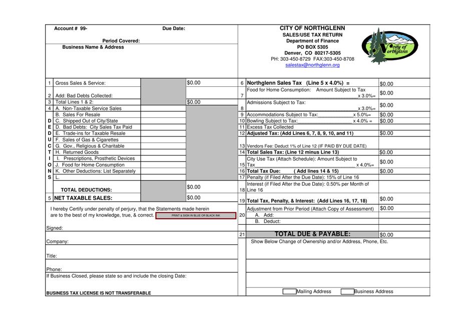 """Sales/Use Tax Return Form"" - City of Northglenn, Colorado Download Pdf"