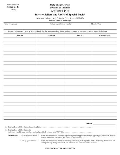 Form MFT-10 Schedule E  Printable Pdf