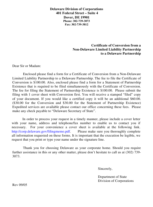 """""""Certificate of Conversion From a Non-delaware Limited Liability Partnership to a Delaware Partnership"""" - Delaware Download Pdf"""