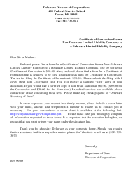 """""""Certificate of Conversion From a Non-delaware Limited Liability Company to a Delaware Limited Liability Company"""" - Delaware"""