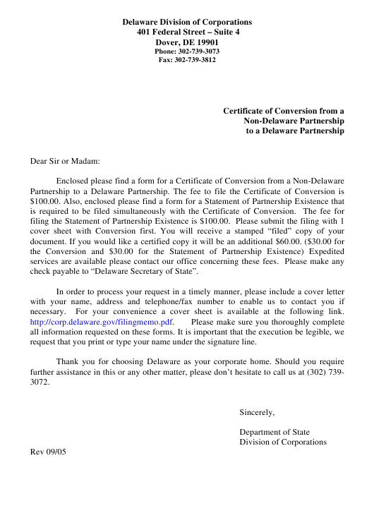 """Certificate of Conversion From a Non-delaware Partnership to a Delaware Partnership"" - Delaware Download Pdf"