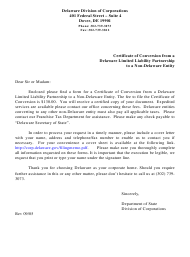 """""""Certificate of Conversion From a Delaware Limited Liability Partnership to a Non-delaware Entity"""" - Delaware"""