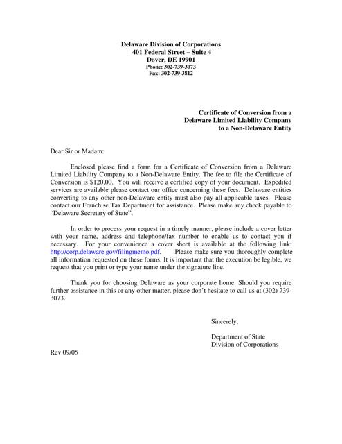 """Certificate of Conversion From a Delaware Limited Liability Company to a Non-delaware Entity"" - Delaware Download Pdf"