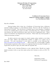 """""""Certificate of Conversion From a Delaware Limited Liability Company to a Non-delaware Entity"""" - Delaware"""