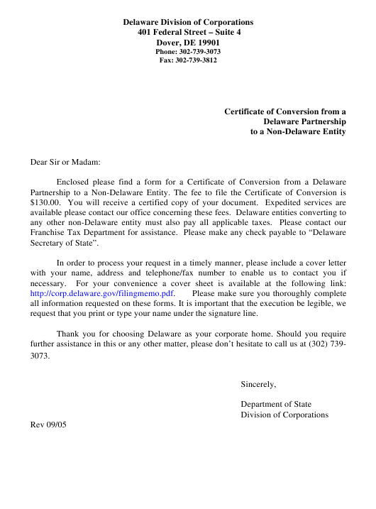 """Certificate of Conversion From a Delaware Partnership to a Non-delaware Entity"" - Delaware Download Pdf"