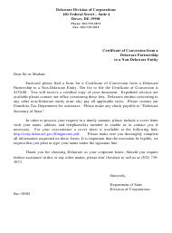 """""""Certificate of Conversion From a Delaware Partnership to a Non-delaware Entity"""" - Delaware"""