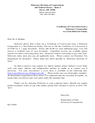 """Certificate of Conversion From a Delaware Corporation to a Non-delaware Entity"" - Delaware"
