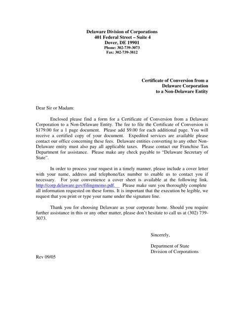 """Certificate of Conversion From a Delaware Corporation to a Non-delaware Entity"" - Delaware Download Pdf"