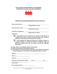 """District of Columbia Representative(S) Affidavit Form"" - Washington, D.C."