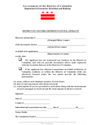 District of Columbia Representative(S) Affidavit Form - District of Columbia