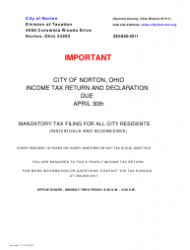 Tax Return and Declaration Form - City of Norton, Ohio