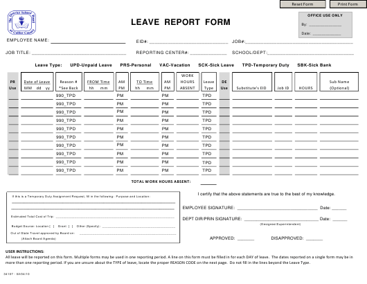 """""""Leave Report Form - District School Board of the Collier County"""" Download Pdf"""