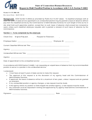 "Form CT-HR-28 ""Request to Hold Classified Position in Accordance With C.g.s. Section 5-248(F)"" - Connecticut"