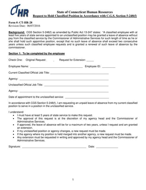 Form CT-HR-28  Printable Pdf