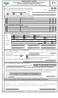Form IT-5 Application to the Registering/Transferring Authority for Sale/Transfer of Immovable Property - Pakistan