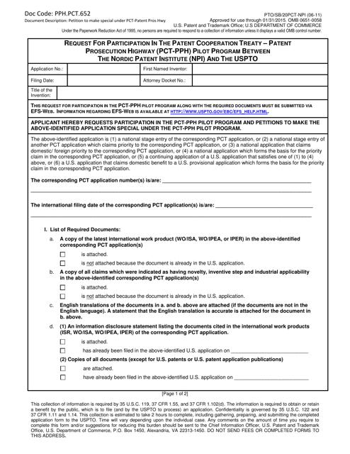 Form PTO/SB/20PCT-NPI  Printable Pdf