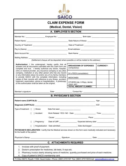 medical dental vision claim expense form saico download