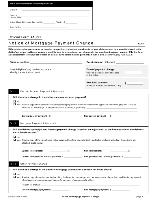 Official Form 410S1  Printable Pdf