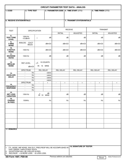 DD Form 1697  Printable Pdf